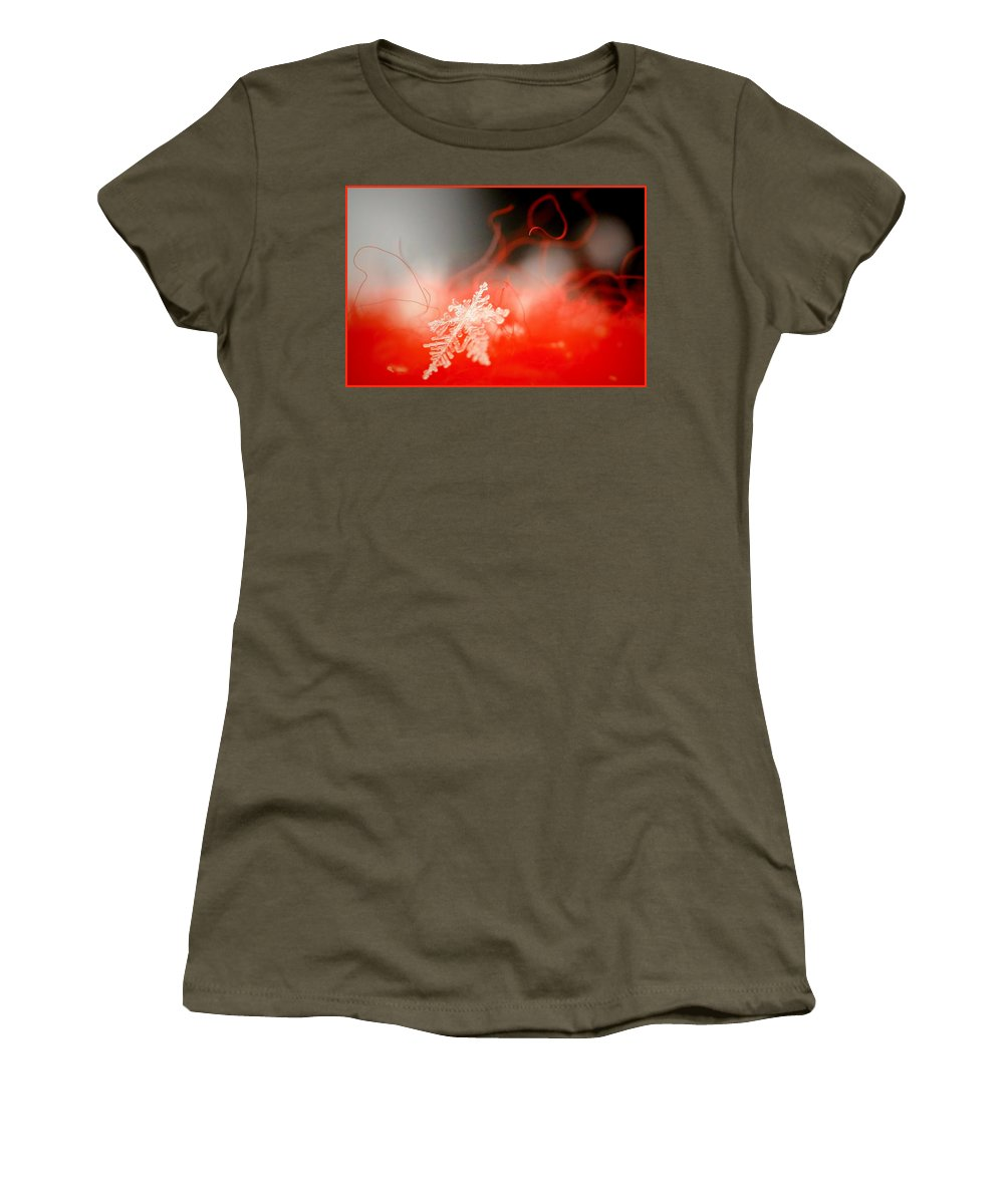 Snow Women's T-Shirt featuring the photograph Catching A Snowflake by Deb Buchanan