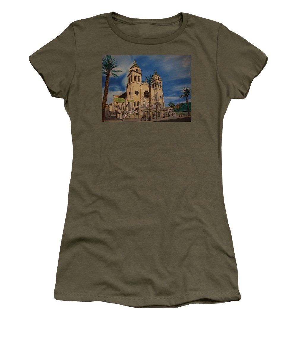 Women's T-Shirt featuring the painting Cathedral by Jude Darrien