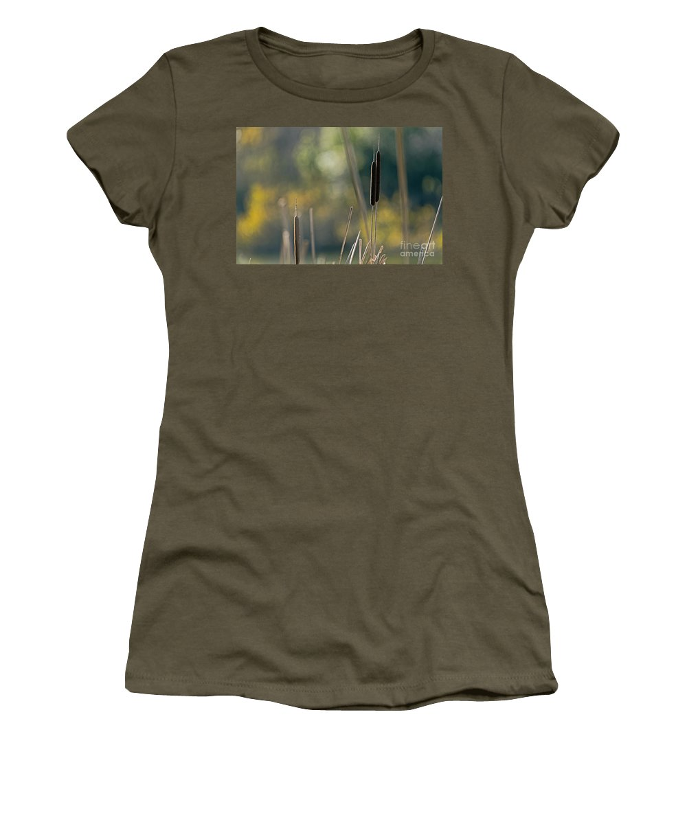 Bokeh Women's T-Shirt (Athletic Fit) featuring the photograph Cattails by Kate Brown