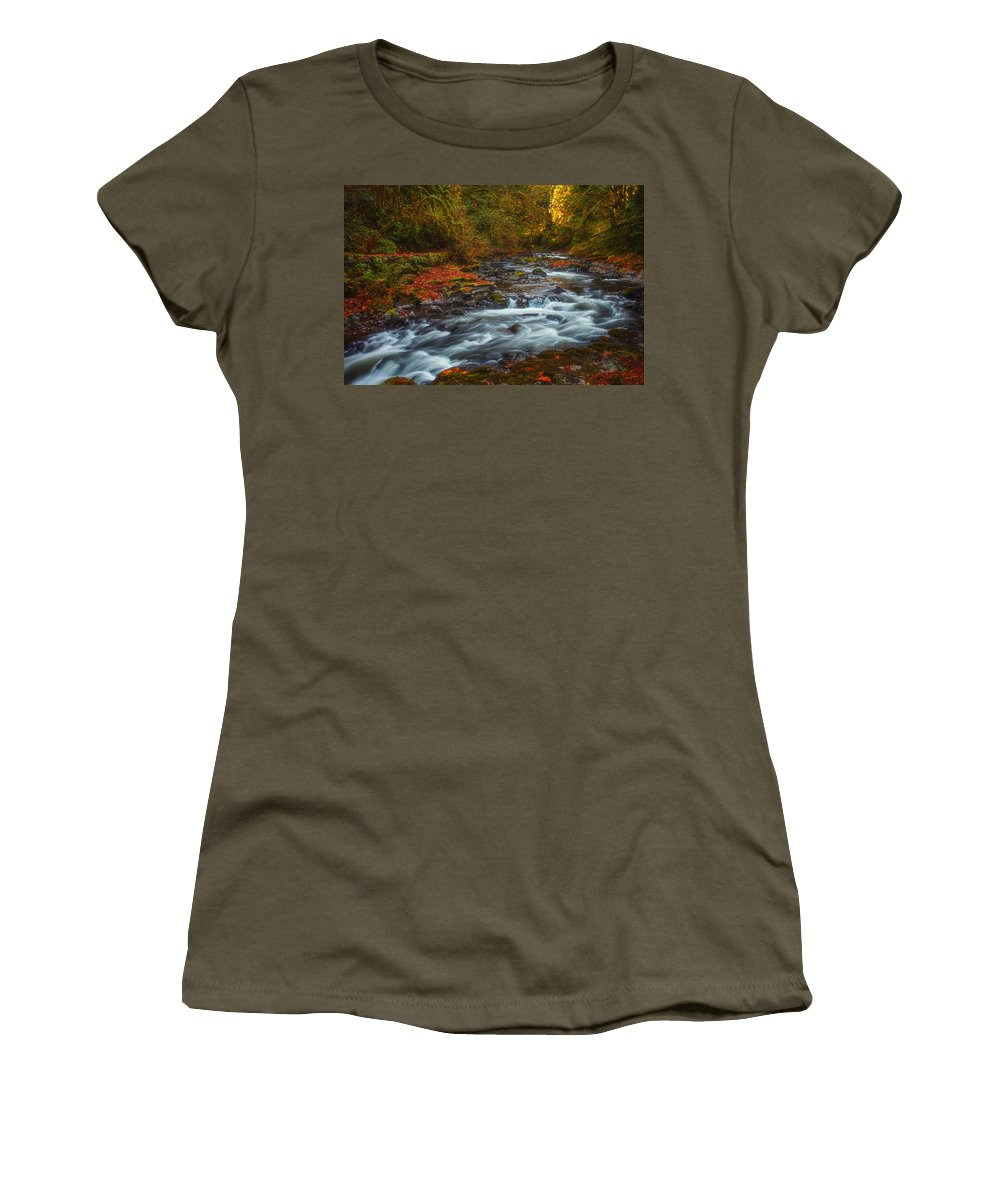 Creek Women's T-Shirt featuring the photograph Cedar Creek Morning by Darren White