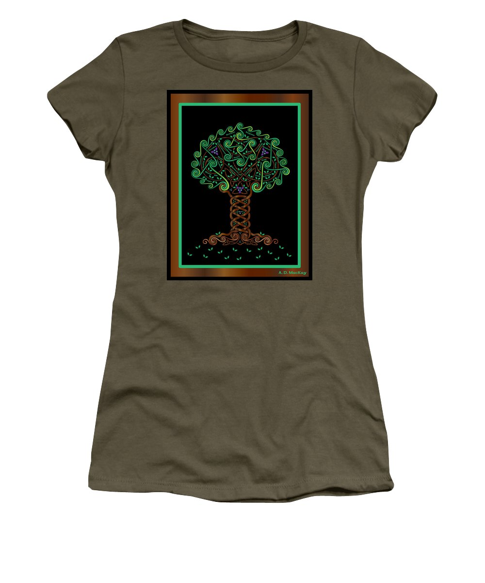 Celtic Art Women's T-Shirt featuring the digital art Celtic Tree Of Life by Celtic Artist Angela Dawn MacKay