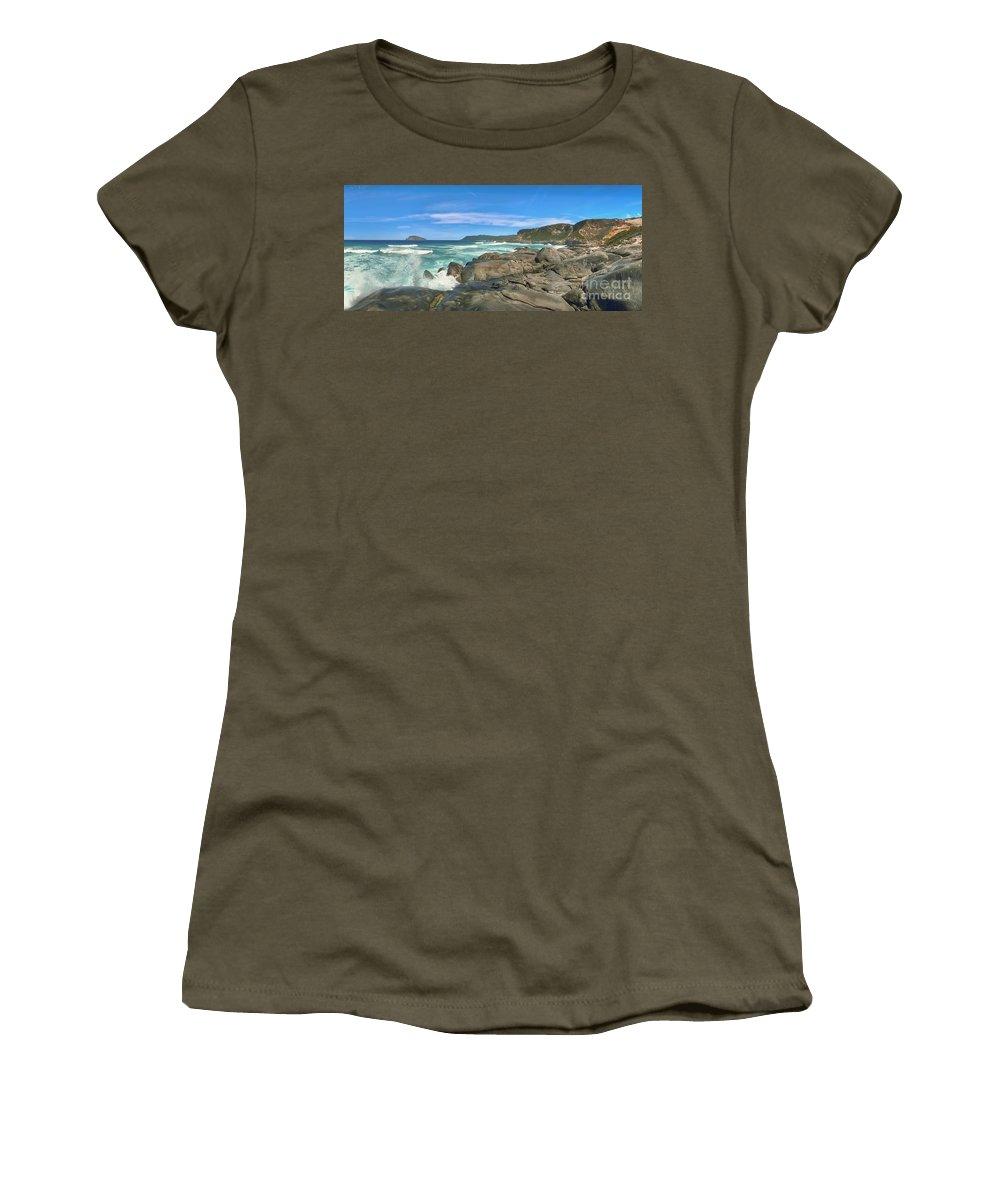 Central Women's T-Shirt featuring the photograph Central Coast Ca Ocean Waves Crashing On Rocks 4 by David Zanzinger