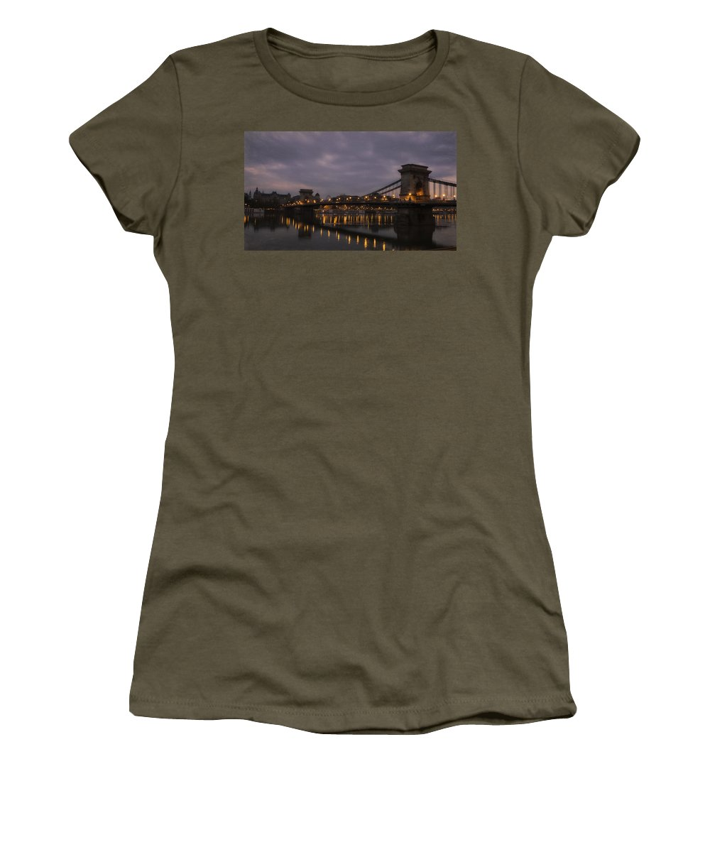 Joan Carroll Women's T-Shirt featuring the photograph Chain Bridge Dawn by Joan Carroll