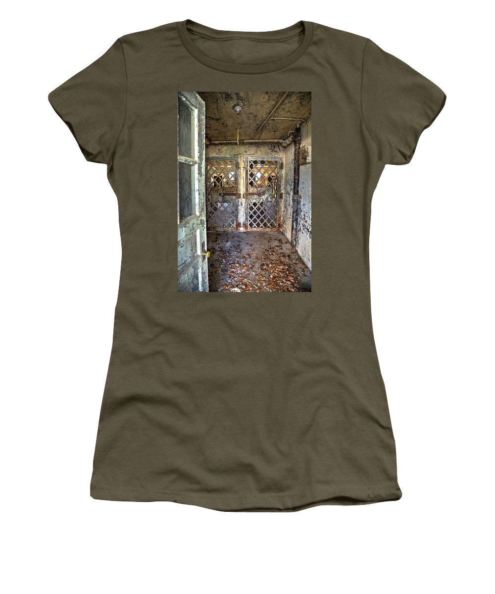 Doors Women's T-Shirt featuring the photograph Chain Gang-3 by Charles Hite