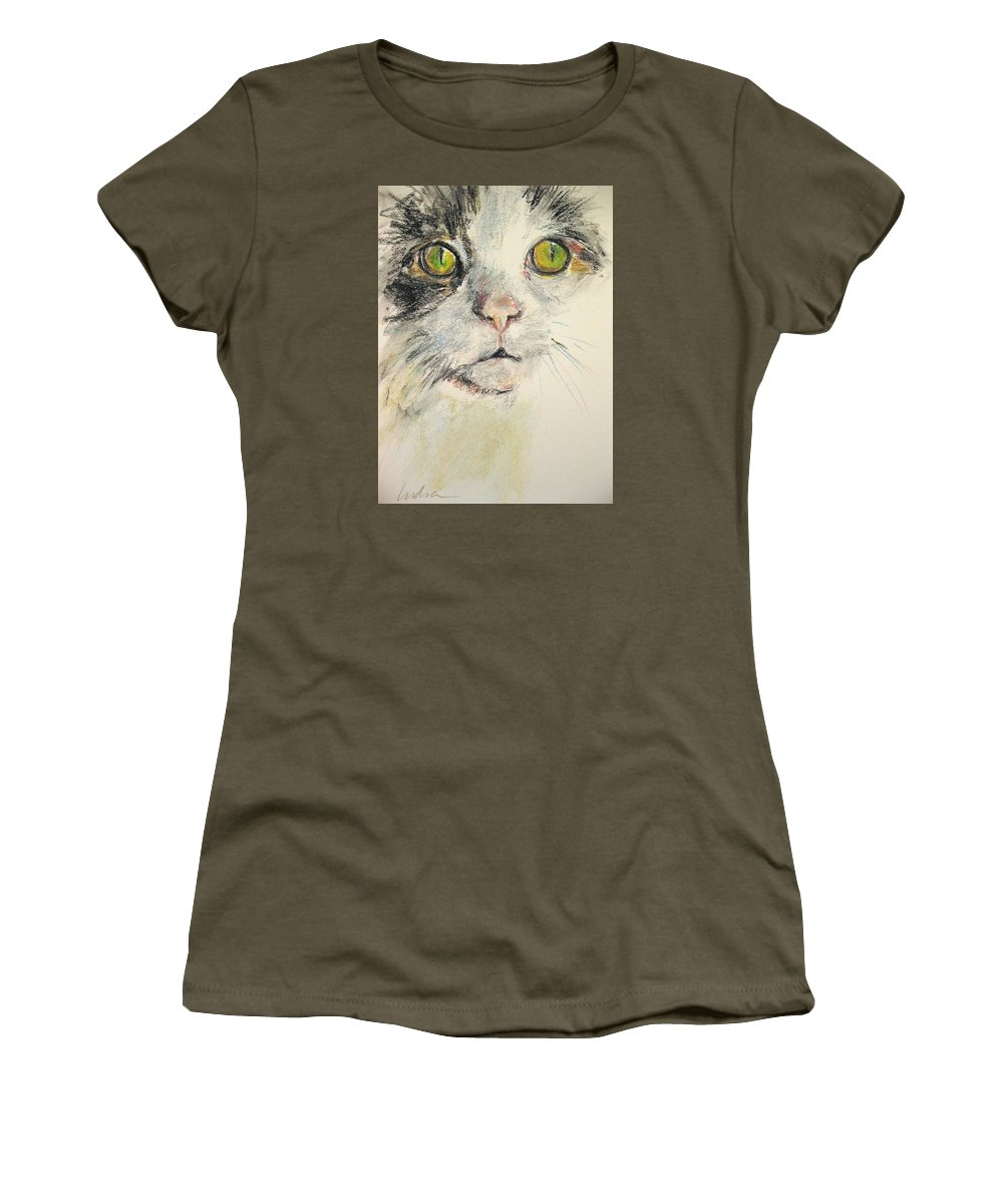 Cat Women's T-Shirt featuring the drawing Chandi Big Face by Indra Singh