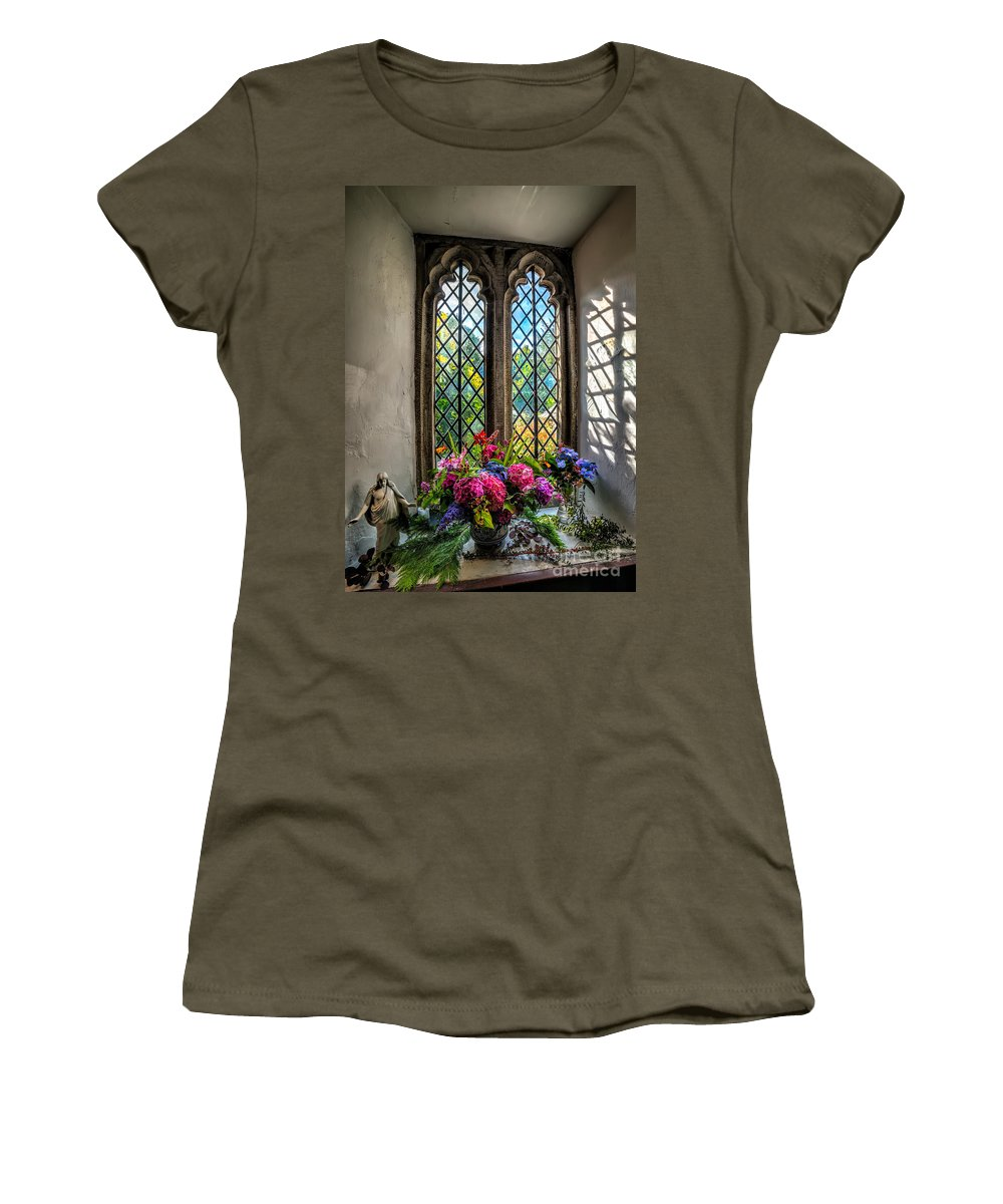 British Women's T-Shirt featuring the photograph Chapel Flowers by Adrian Evans
