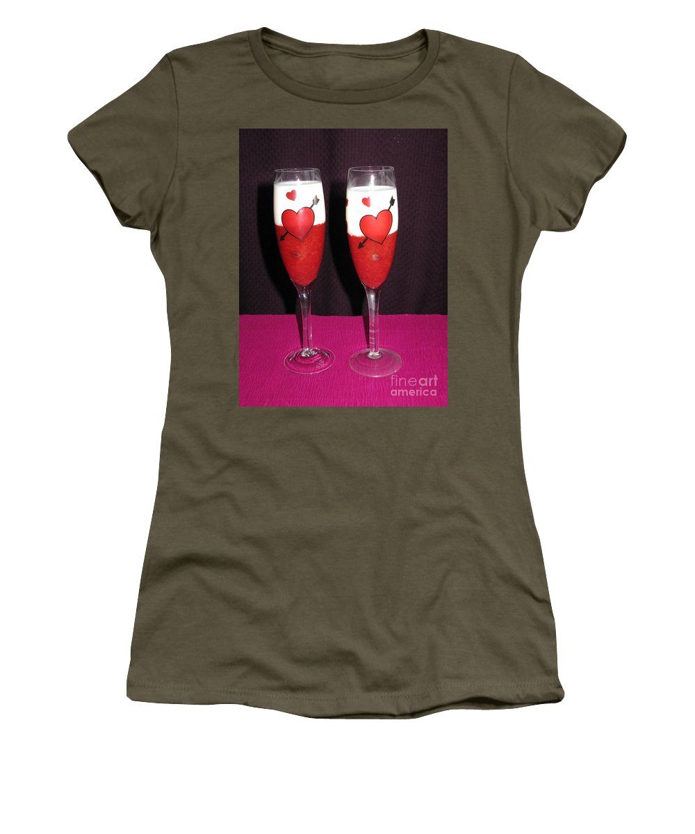 Strawberry Dessert Women's T-Shirt (Athletic Fit) featuring the photograph Cheers My Love 01 by Ausra Huntington nee Paulauskaite