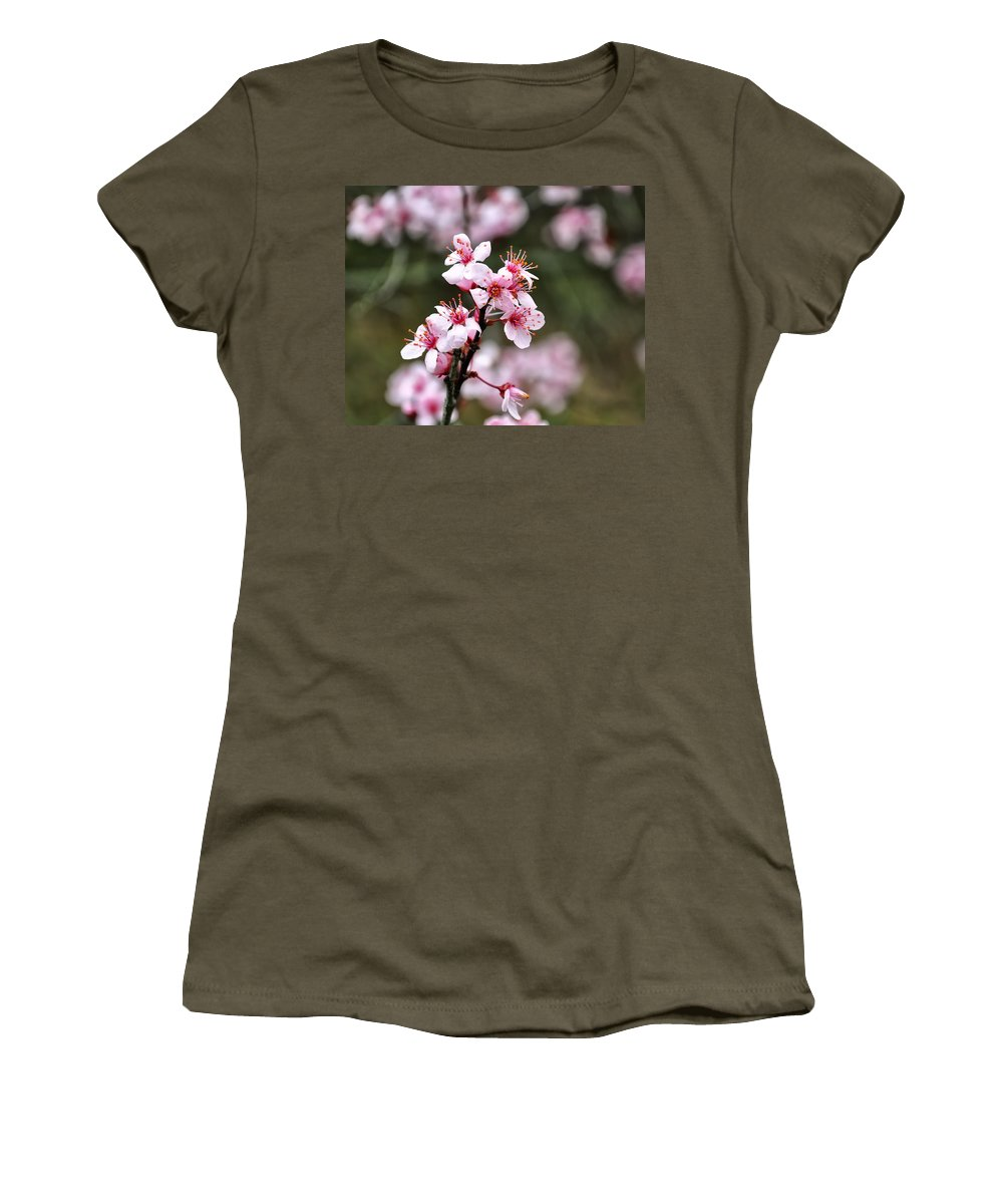 Cherry Blossoms Women's T-Shirt featuring the digital art Cherry Blossoms by Chris Flees