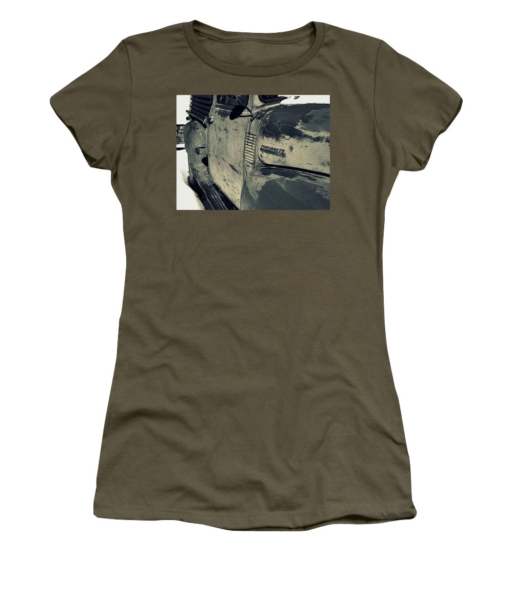 Chevrolet Women's T-Shirt (Athletic Fit) featuring the photograph Arroyo Seco Chevy In Silver by Gia Marie Houck