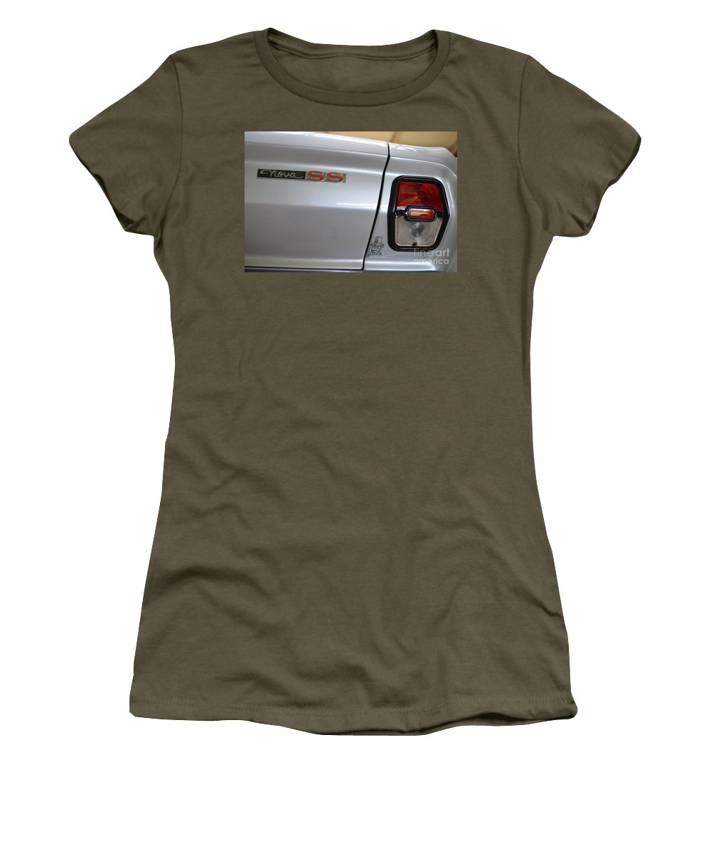 Chevy Women's T-Shirt (Athletic Fit) featuring the photograph Chevy Nova Ss Emblem And Tail Light by Mary Deal