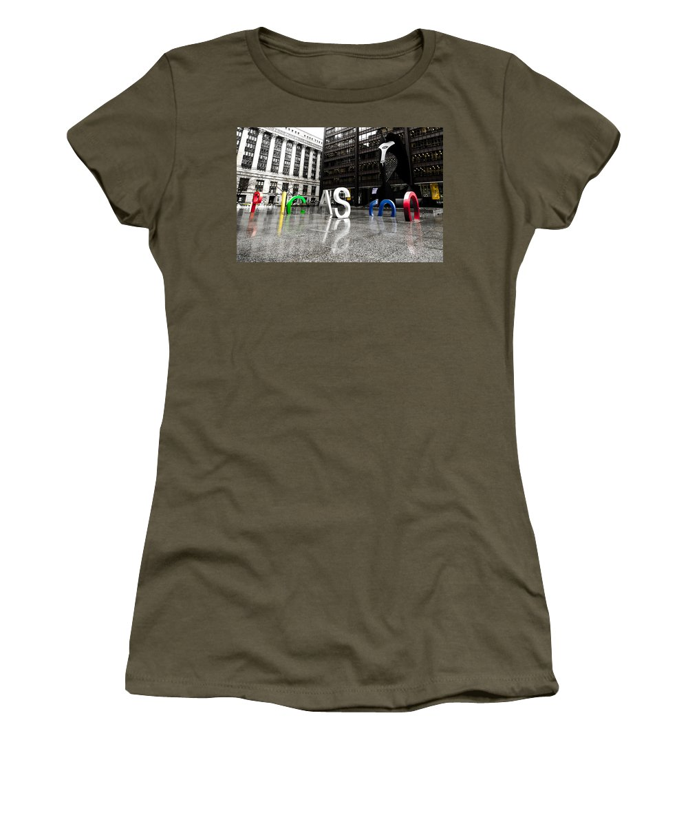 Chicago Women's T-Shirt featuring the photograph Chicago Picasso In The Rain by Anthony Doudt