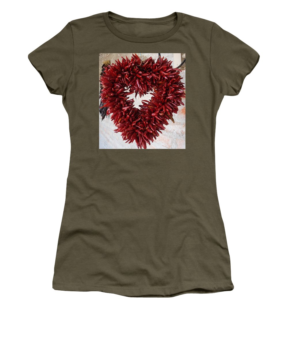 Chili Peppers Women's T-Shirt featuring the photograph Chili Pepper Heart by Kerri Mortenson