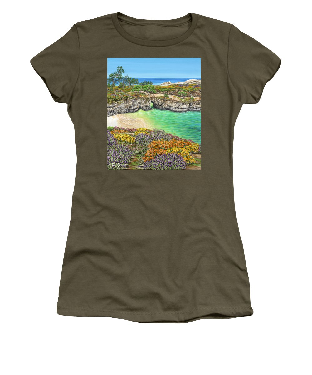 Ocean Women's T-Shirt featuring the painting China Cove Paradise by Jane Girardot