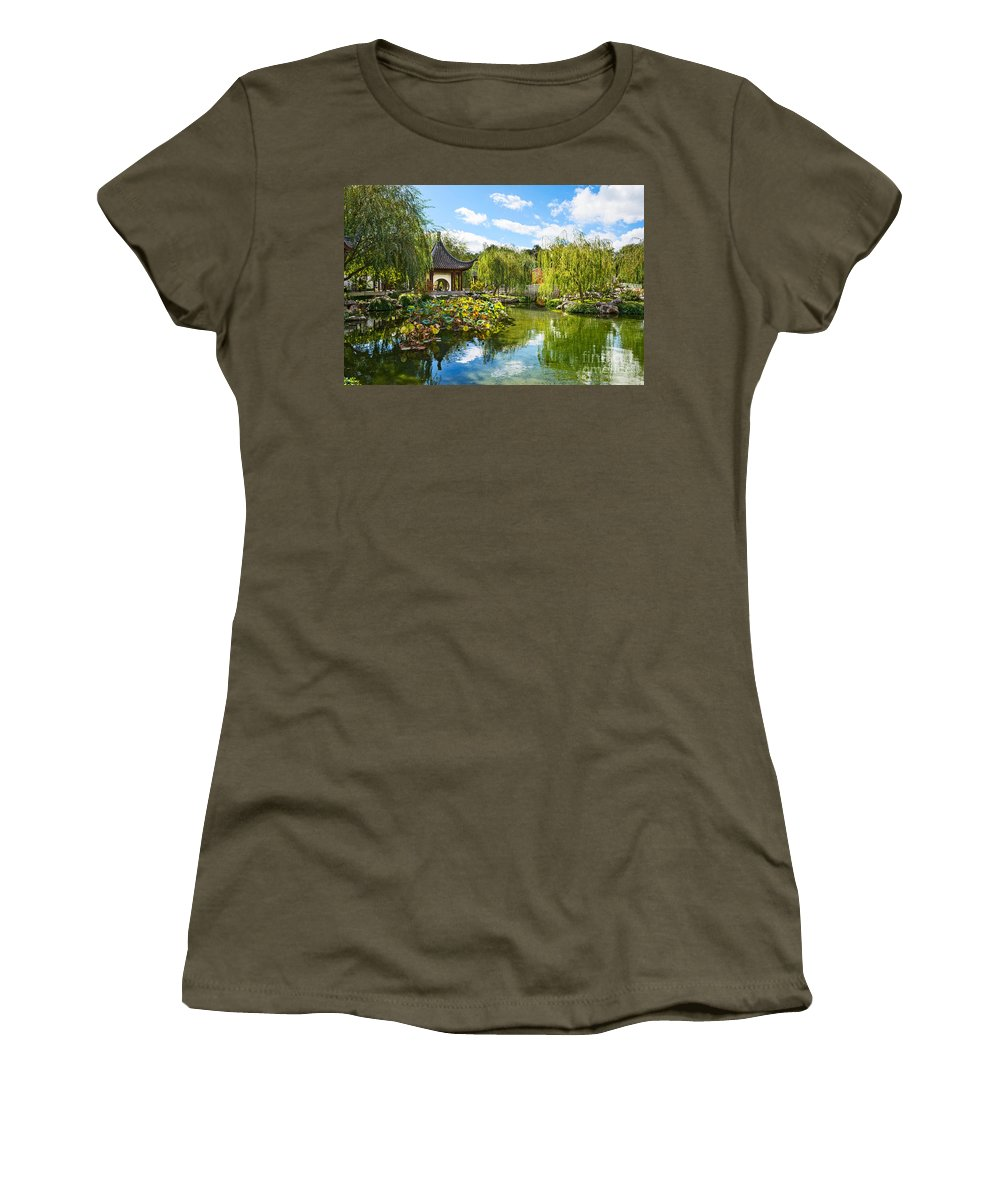 Chinese Garden Women's T-Shirt featuring the photograph Chinese Garden Vista by Jamie Pham