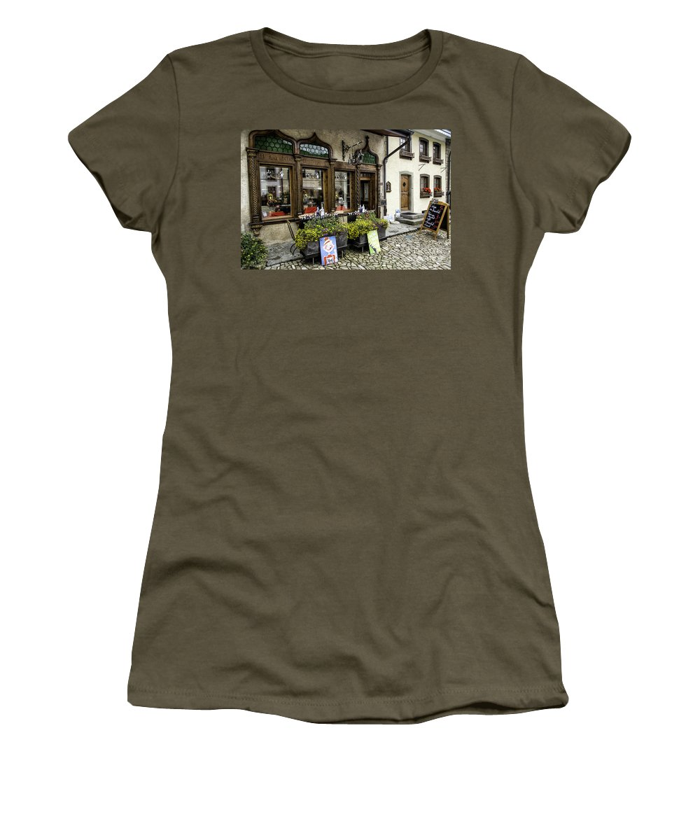 Leysin Women's T-Shirt (Athletic Fit) featuring the photograph Chocolatier In Gruyeres by Timothy Hacker