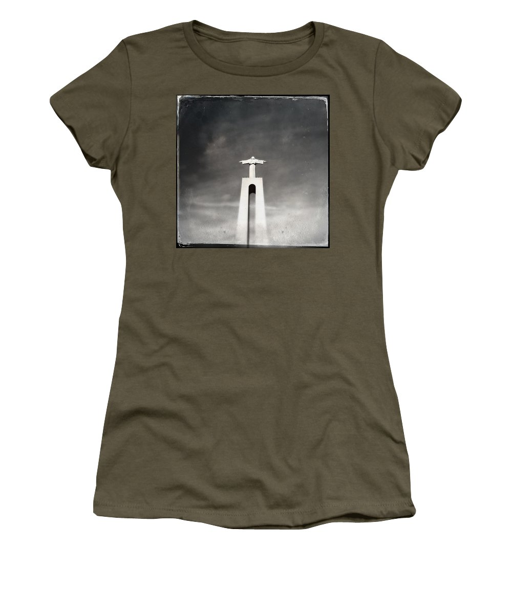 Marco Oliveira Women's T-Shirt featuring the photograph Christ The King Statue I by Marco Oliveira