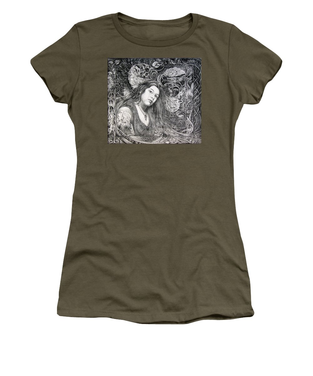 Portrait Women's T-Shirt (Athletic Fit) featuring the drawing Christan Portrait by Otto Rapp