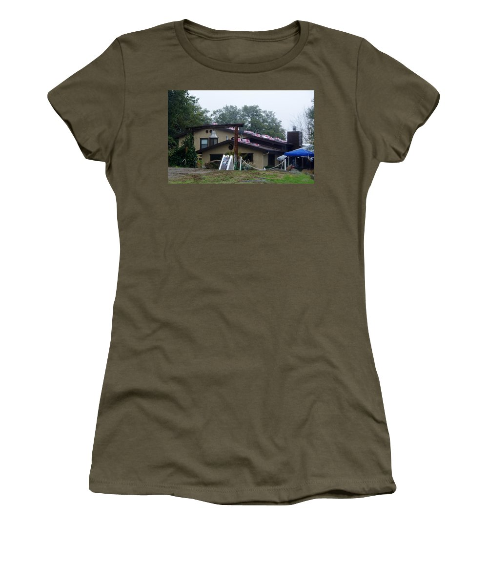 Christmas Women's T-Shirt featuring the photograph Christmas Lions Tigers And Bears House by Phyllis Spoor