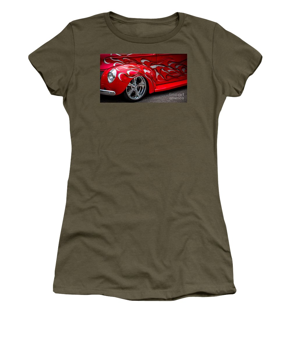 Car Women's T-Shirt featuring the photograph Chrome Red by Perry Webster