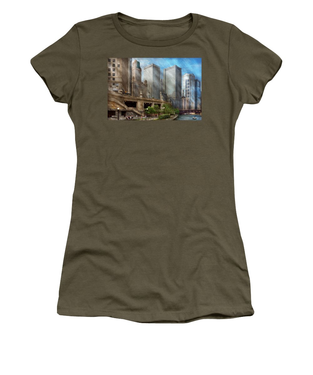 Chicago Women's T-Shirt featuring the photograph City - Chicago Il - Continuing A Legacy by Mike Savad