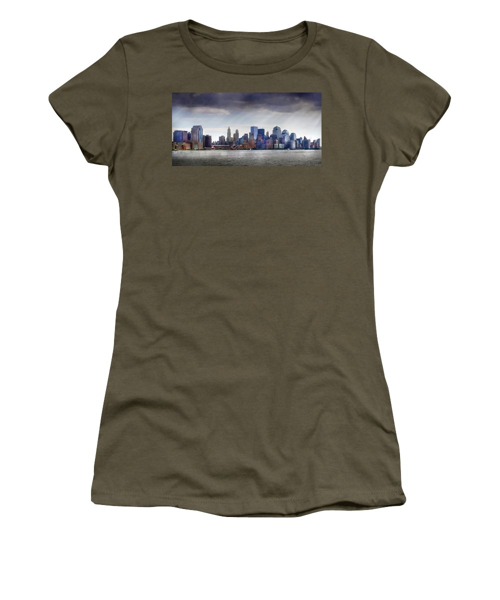New York Women's T-Shirt featuring the photograph City - Hoboken Nj - New York City - Pano by Mike Savad