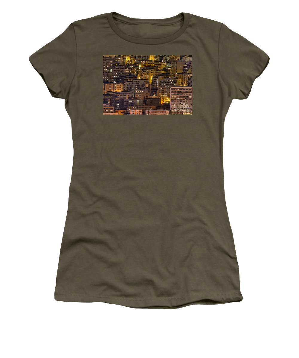 Monaco Women's T-Shirt featuring the photograph City Lights by John Greim