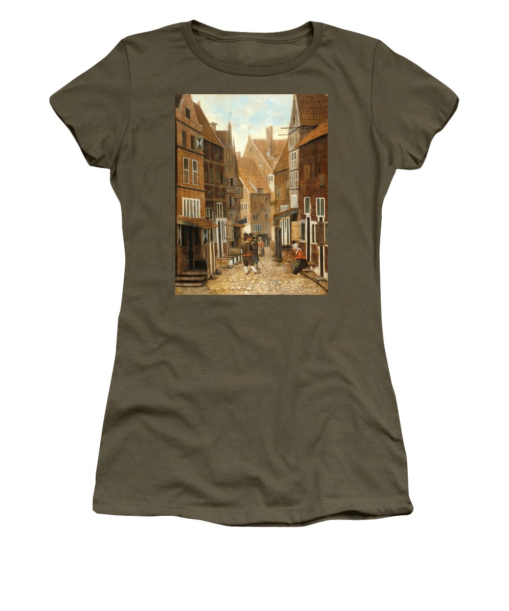Jacob Vrel Women's T-Shirt featuring the painting Cityscape by Jacob Vrel
