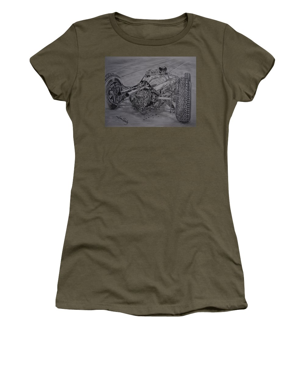 Jim Clark Women's T-Shirt (Athletic Fit) featuring the drawing Clark And The Lotus 25 by Juan Mendez