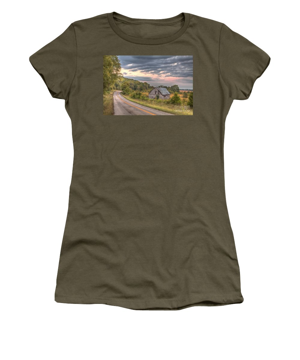 2013 Women's T-Shirt (Athletic Fit) featuring the photograph Classic Missouri Barn by Larry Braun