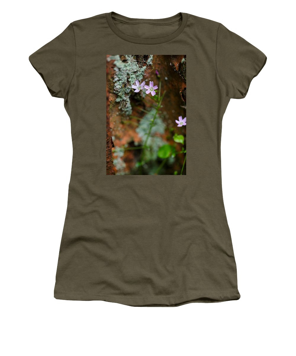 Rust Women's T-Shirt featuring the photograph Claytonia And Rust by Rick Berk