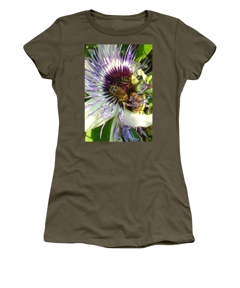 Flower Women's T-Shirt (Athletic Fit) featuring the photograph Close Up Of Passion Flower With Honey Bee by Taiche Acrylic Art