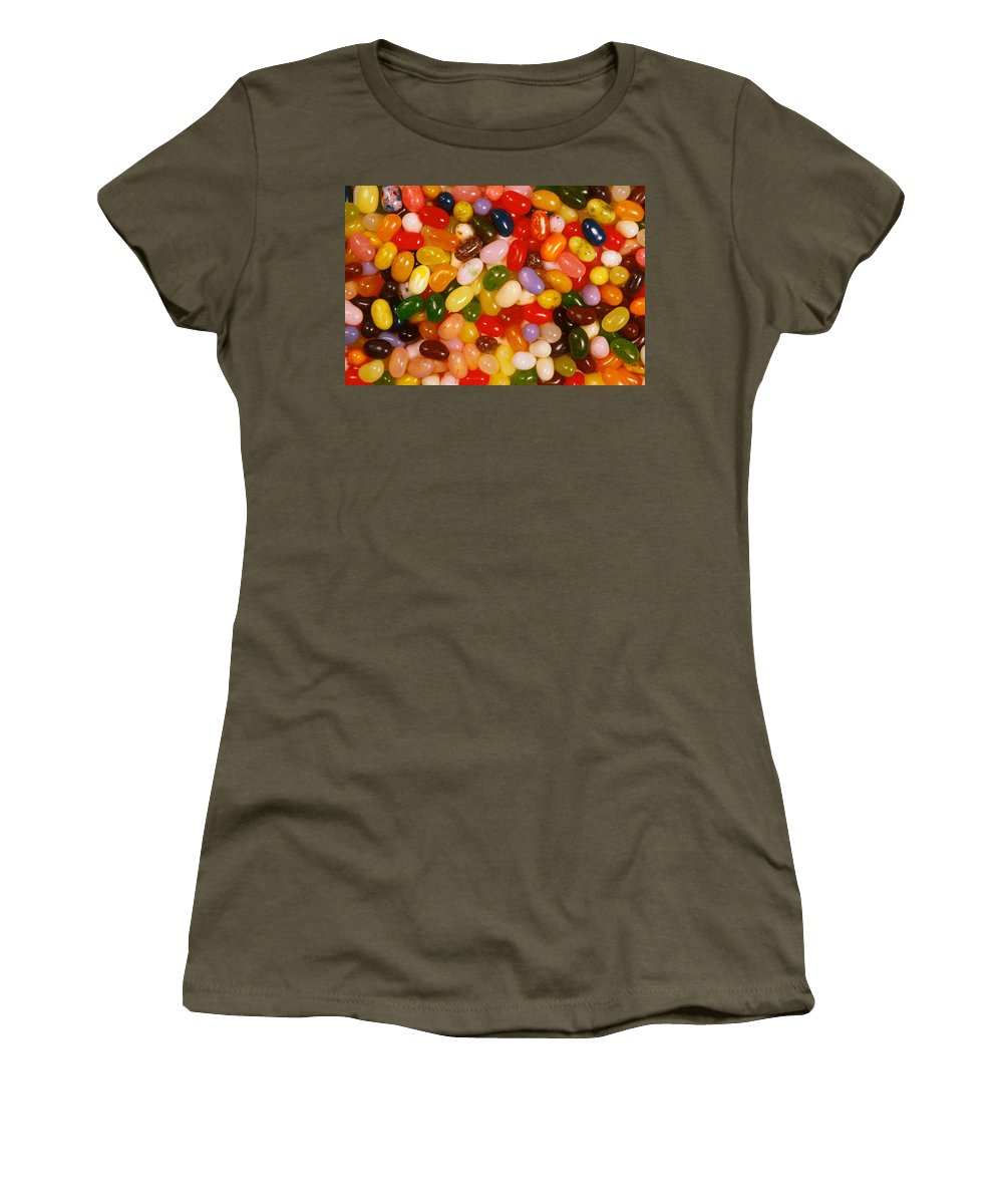 No People; Horizontal; Outdoors; Day; Upward View; Full Frame; Business; Food And Drink; Unhealthy Eating; Food And Drink Industry; Pattern; Abundance; Jellybean; Dessert; Candy; Multi Colored; Heap Women's T-Shirt (Athletic Fit) featuring the photograph Closeup Of Assorted Jellybeans by Anonymous