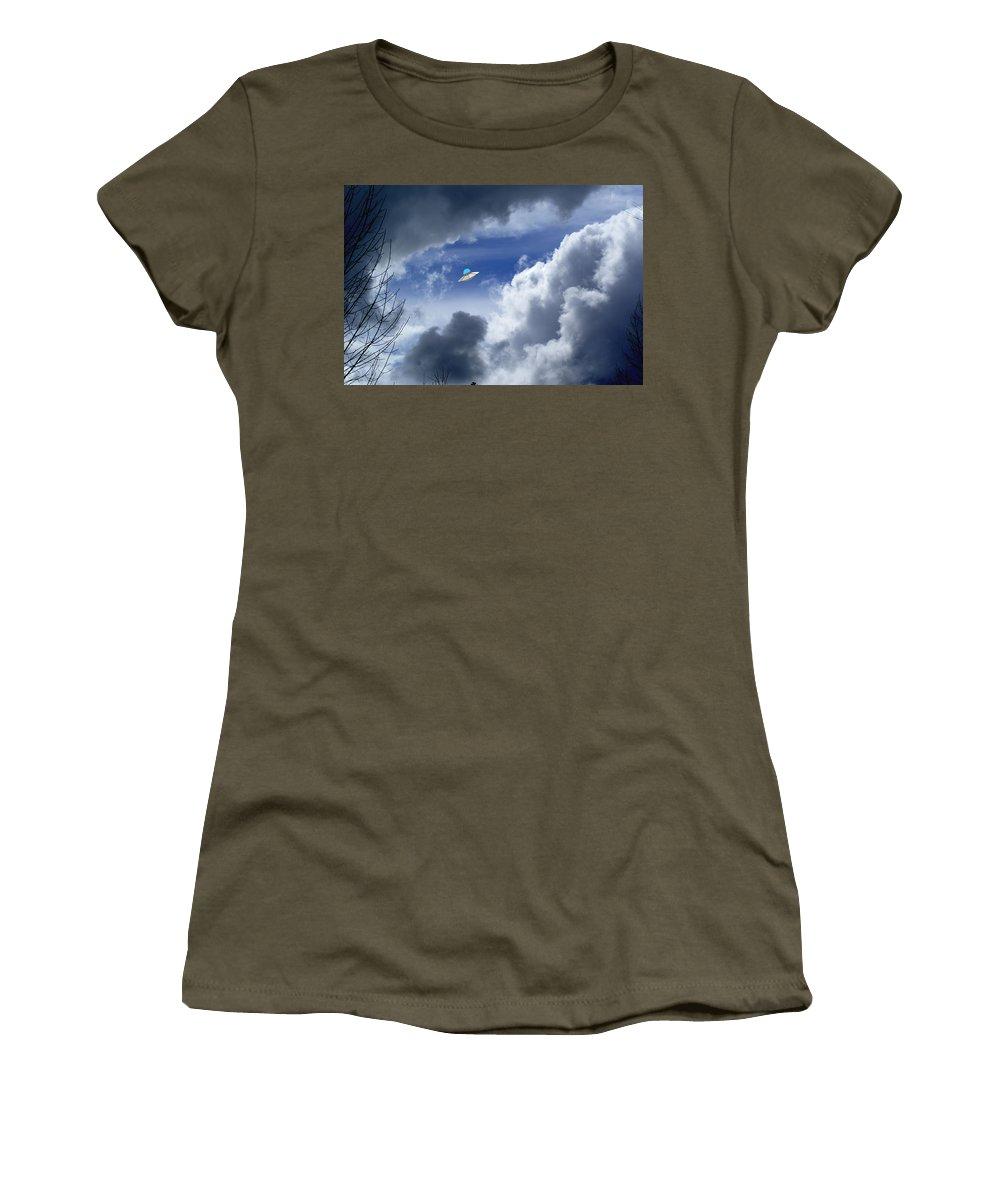 Aliens Women's T-Shirt featuring the photograph Cloud Surfing by Ben Upham III