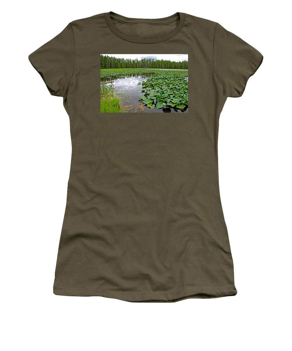 Clouds Among The Lily Pads In Swan Lake In Grand Teton National Park Women's T-Shirt featuring the photograph Clouds Among The Lily Pads In Swan Lake In Grand Teton National Park-wyoming by Ruth Hager
