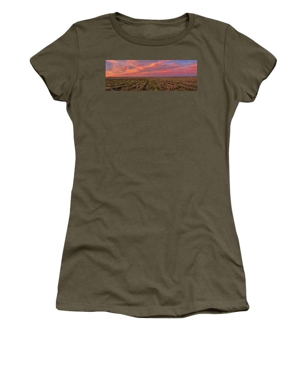 Photography Women's T-Shirt featuring the photograph Clouds Over Landscape At Sunset by Panoramic Images