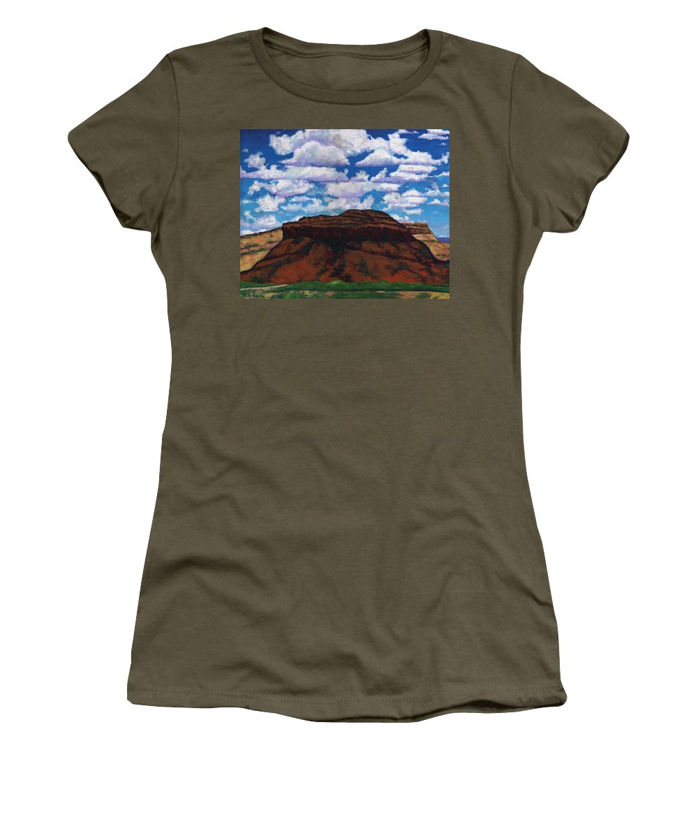 Lanscape Women's T-Shirt (Athletic Fit) featuring the painting Clouds Over Red Mesa by Joe Triano