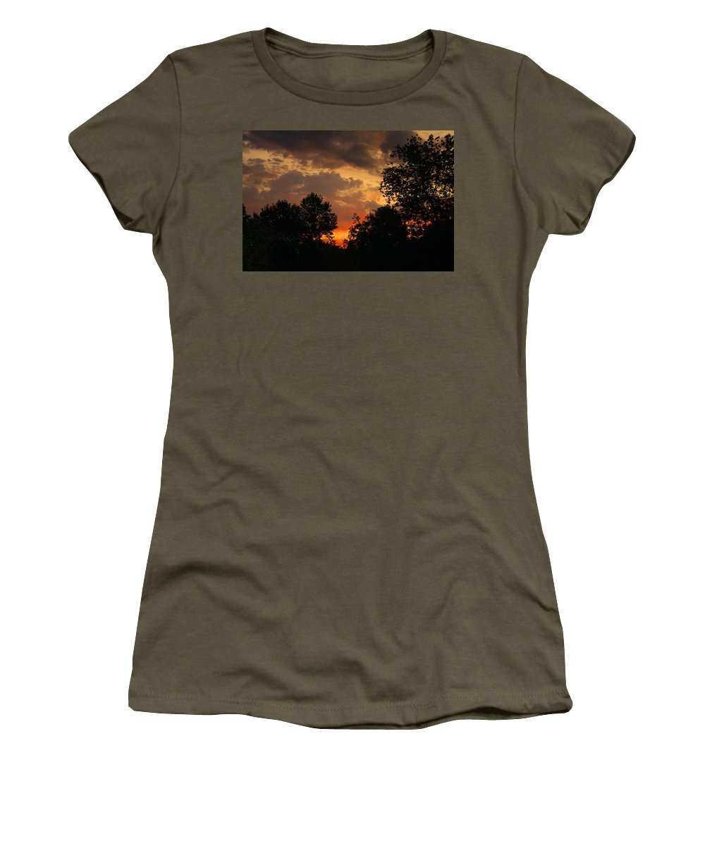 Sunrise Women's T-Shirt featuring the photograph Cloudy Dawn by Kathryn Meyer