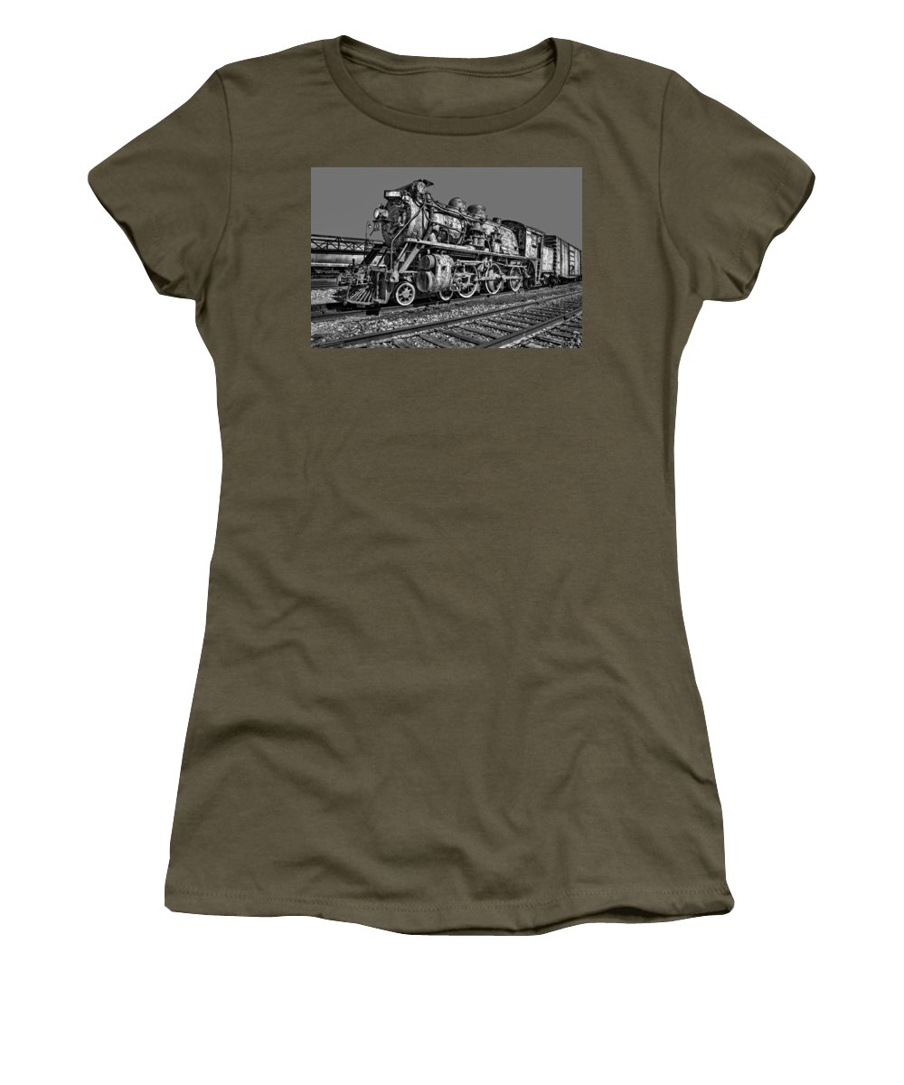 Steam Engine Train Women's T-Shirt featuring the photograph Cnr Number 47 Bw by Susan Candelario