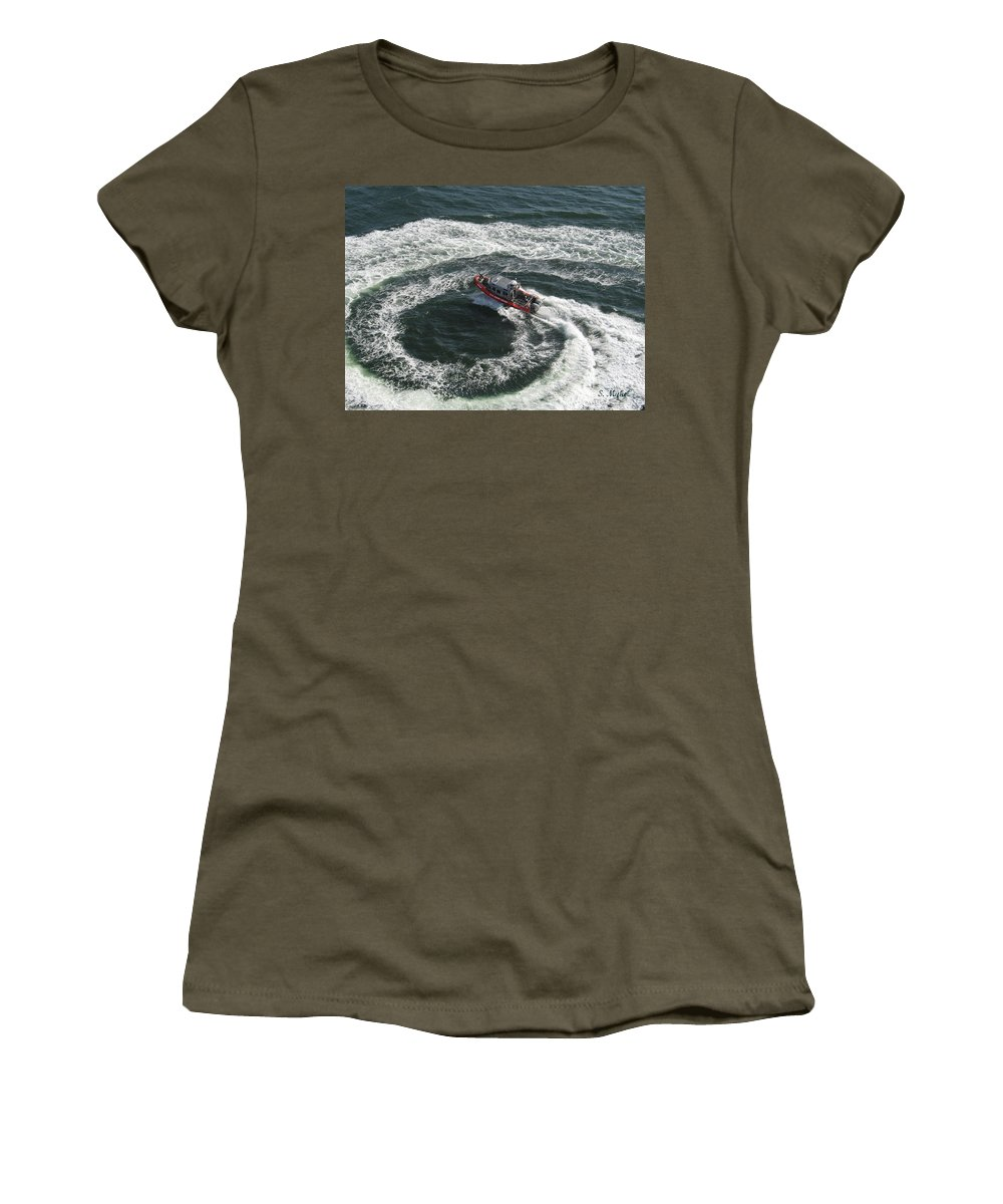 Coast Guard Women's T-Shirt (Athletic Fit) featuring the photograph Coast Guard Ship - Port Of Los Angeles by S Mykel Photography