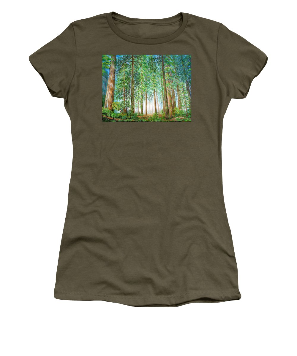 Trees Women's T-Shirt (Athletic Fit) featuring the painting Coastal Redwoods by Jane Girardot