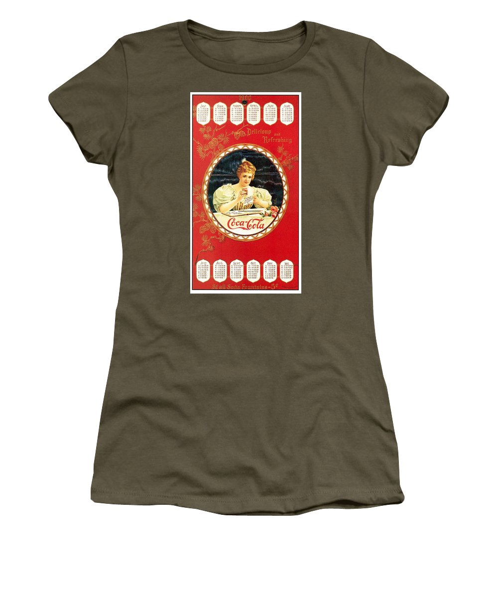Coca-cola Women's T-Shirt featuring the photograph Coca - Cola Vintage Poster Calendar by Gianfranco Weiss