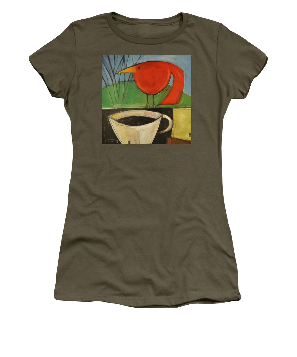 Red Bird Women's T-Shirt featuring the painting coffee with red bird II by Tim Nyberg