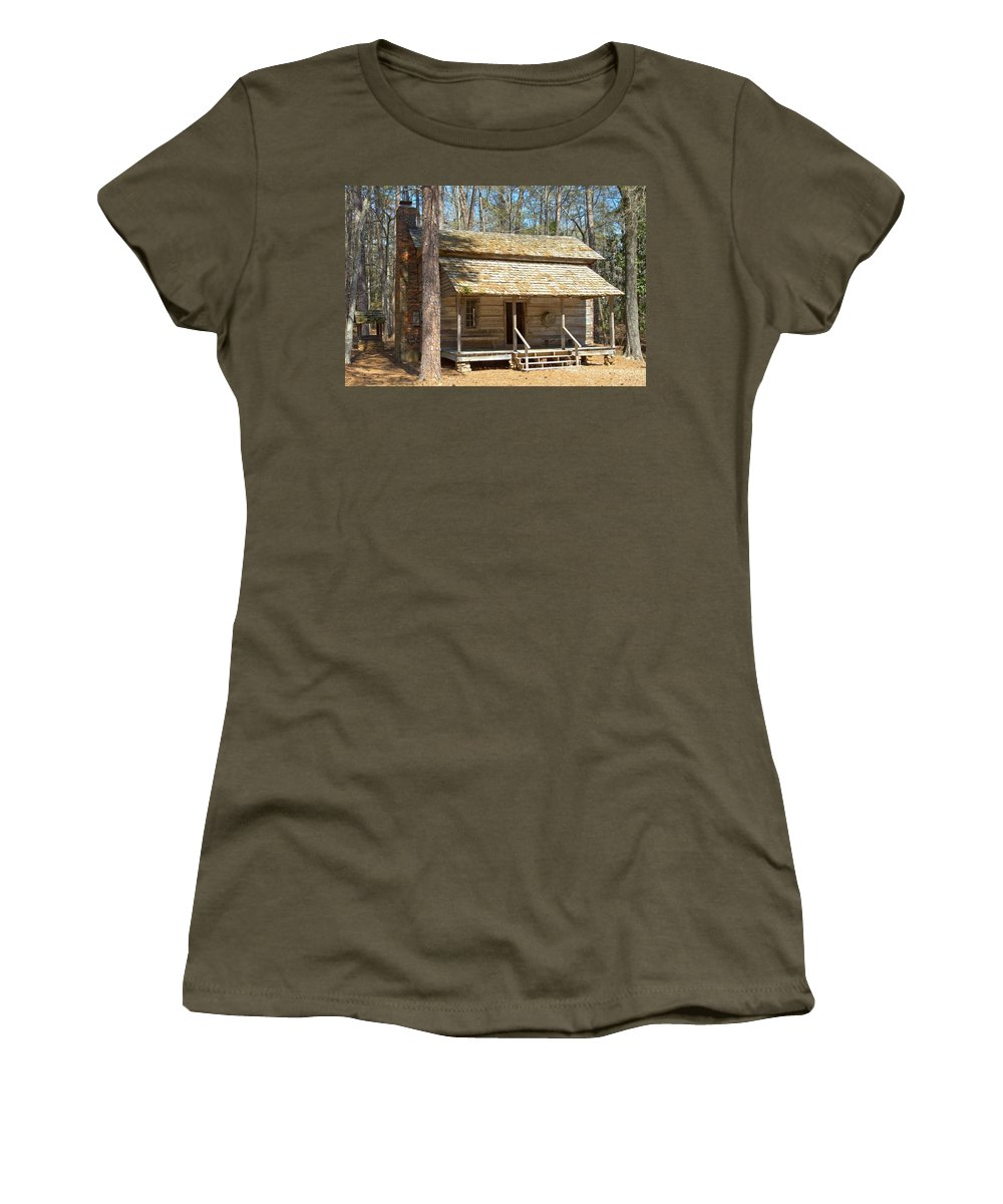 8194 Women's T-Shirt (Athletic Fit) featuring the photograph Colonial Cabin by Gordon Elwell