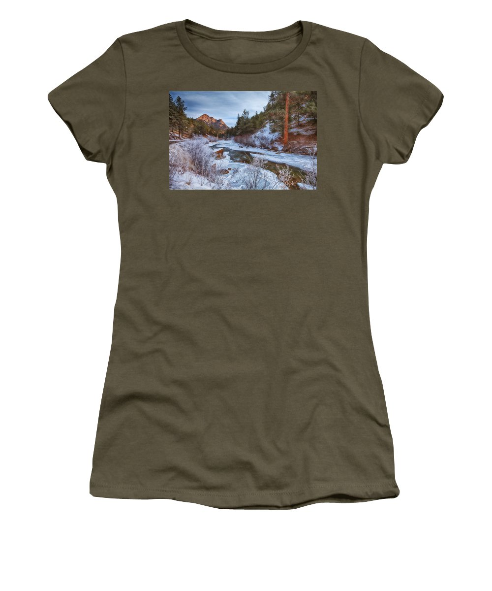 Winter Women's T-Shirt (Athletic Fit) featuring the photograph Colorado Creek by Darren White