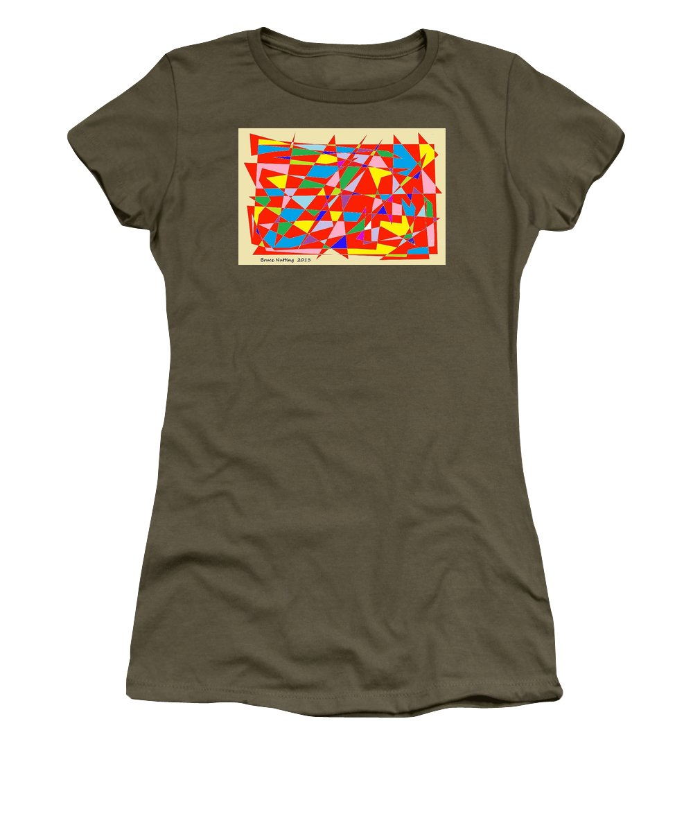 Red Women's T-Shirt (Athletic Fit) featuring the painting Colored Triangles by Bruce Nutting