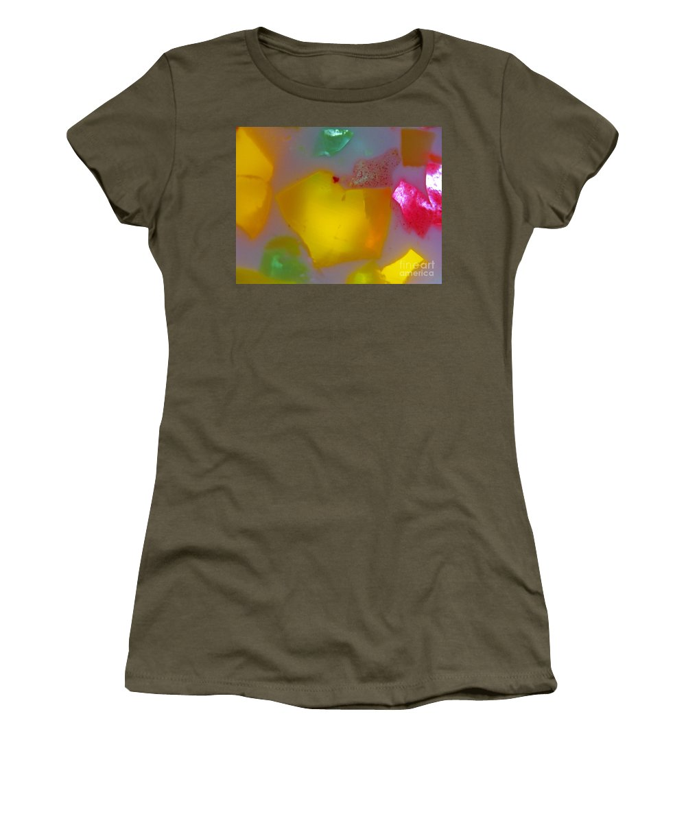 Stained Glass Effect Women's T-Shirt featuring the photograph Colorful Abstract 01 by Ausra Huntington nee Paulauskaite