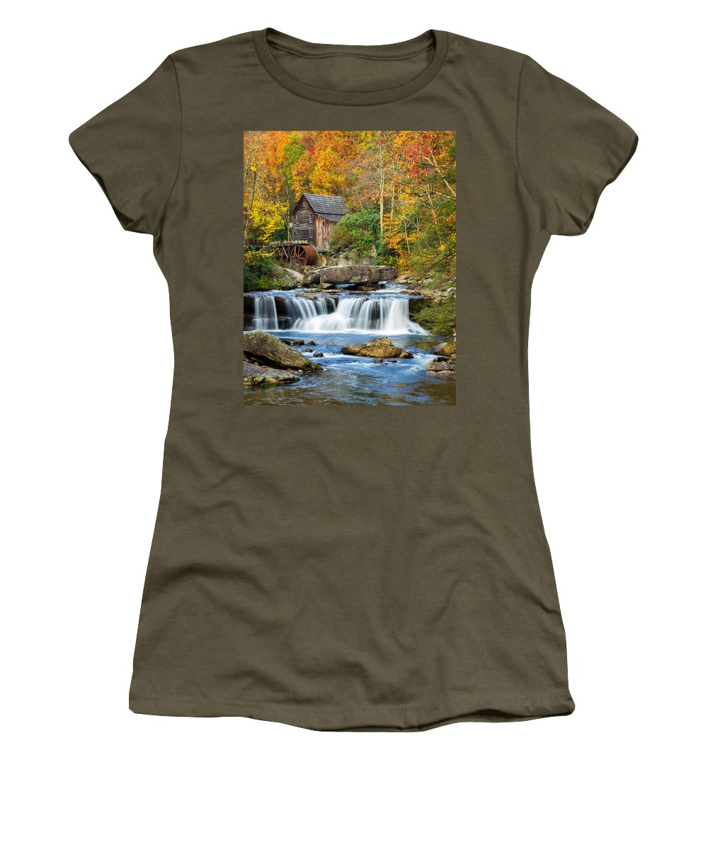 Babcock State Park Women's T-Shirt featuring the photograph Colorful Autumn Grist Mill by Lori Coleman