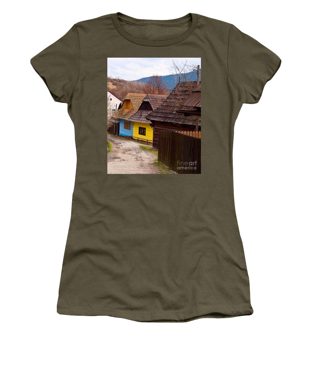 Wood Women's T-Shirt (Athletic Fit) featuring the photograph Colorful Log Homes by Les Palenik