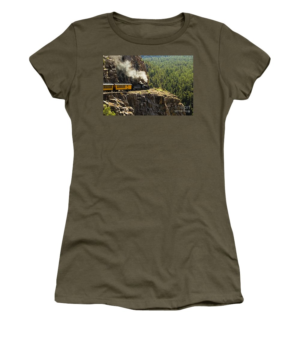 Train Women's T-Shirt featuring the photograph Coming Around The Bend by Scott Pellegrin