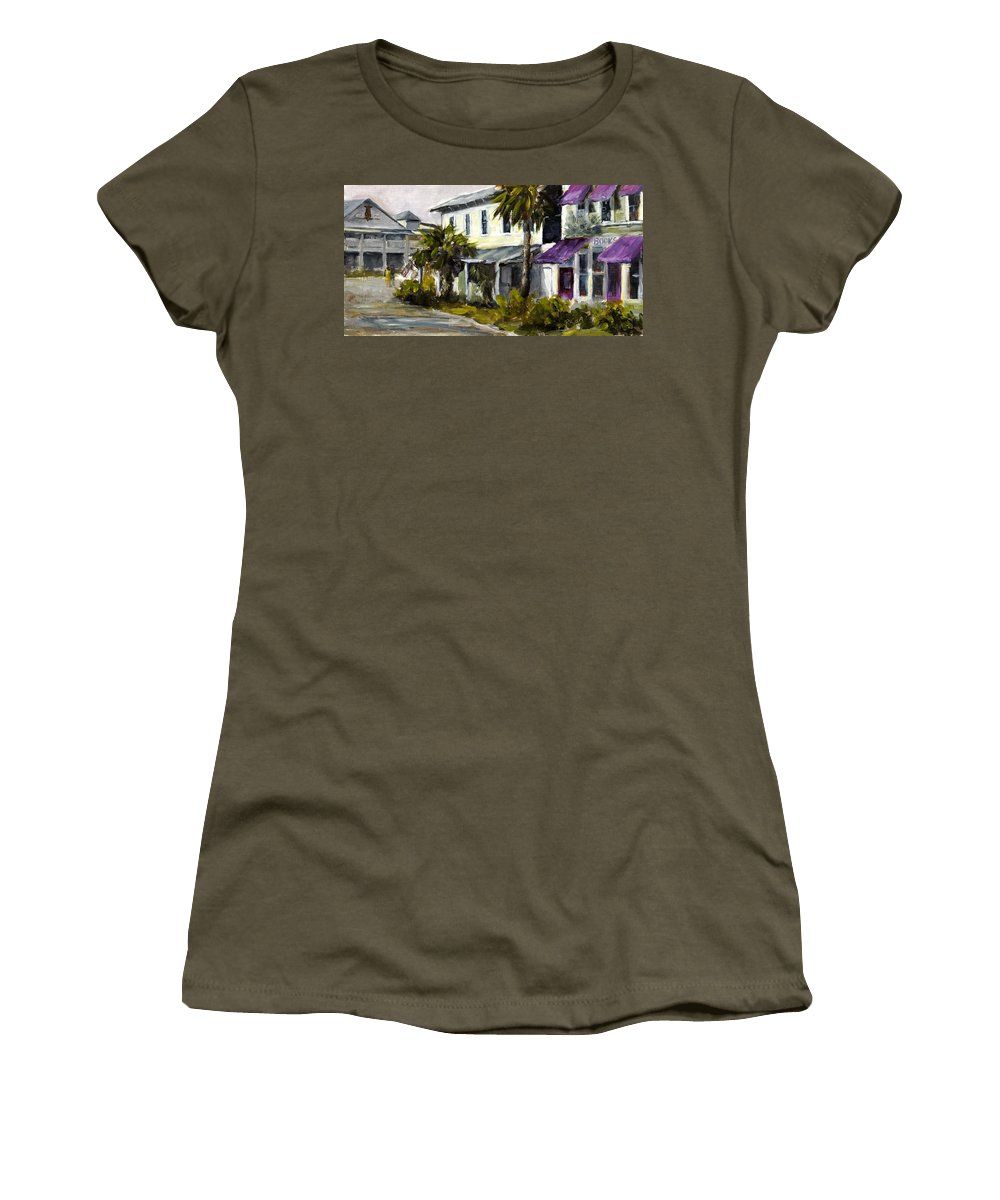 Purple Awnings Women's T-Shirt featuring the painting Commerce And Avenue D by Susan Richardson